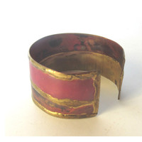 Rustic old metal bangle bracelet. Copper cuff bracelet. Hand crafted Israeli Jewelry. Middle eastern jewelry. Vintage.