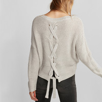 Lace-Up Split Back Sweater