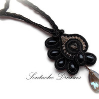 Black Festive Jewelry, Beaded Jewelry, Soutache Necklace, Beaded Necklace, Beaded Earrings, Sparkly Necklace And Earrings Set, Gift For Her