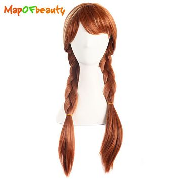 "MapofBeauty 28"" Long Braided Cosplay Wigs Silver Brown Blonde Elsa and Anna Wig Costume Party Heat Resistant Fake Synthetic Hair"