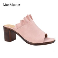 MaxMuxun Heel Slippers Womens Summer Outdoor Beach Slippers Ladies Faux Suede Wood Clogs Open Toe Sandals Mid Block Heel Mules