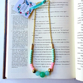 Mint green beaded necklace,Pastel jewelry, Jade beaded necklace,Romantic jewelry,Boho necklace