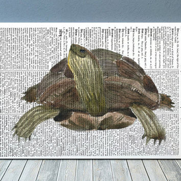 Turtle poster Dictionary print Nautical print Beach house decor RTA1877