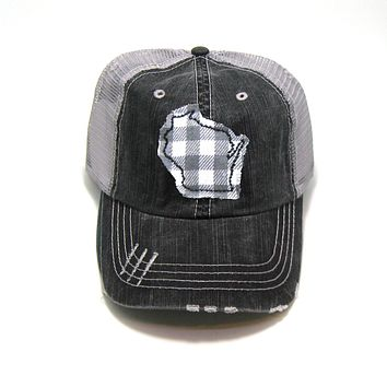Wisconsin Trucker Hat - Distressed - Gray Buffalo Check