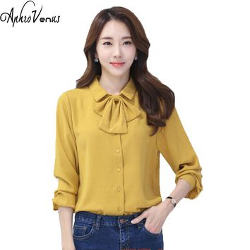 Womens Tops And Blouses Chemise Femme Blusas Feminina Office Lady Bow Tie Tops Chiffon Vintage Yellow Shirt kimonos Long Sleeve