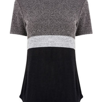TWEED PATCHED TEE - BLACK AND WHITE