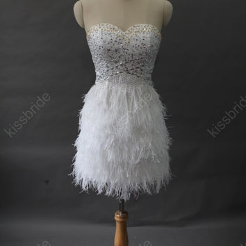 Short prom dress - white prom dress / short girls party dress / cocktail dress / homecoming dress / white party dress with ostrich feathers