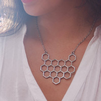 Honeycomb Necklace,  geometric necklace, silver color beehive necklace, honeycomb pendant, honeycomb jewelry, bee jewelry, birthday gift