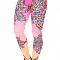 Retro Colourful Flowers Mandala Leggings