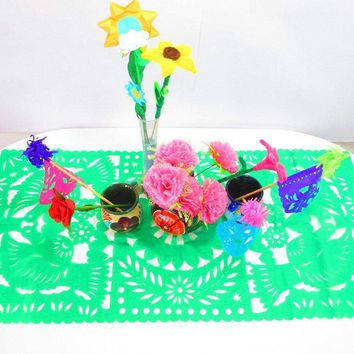 Mexican Decorations, Green table runner, Papel Picado, Fiesta decoration, Mexico table runner