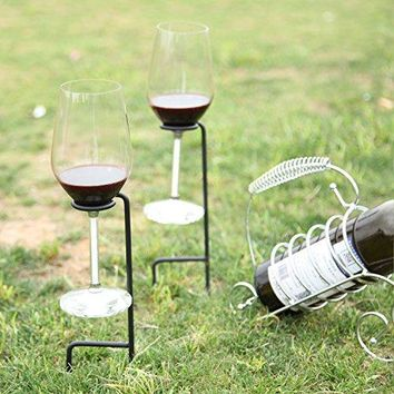 Set of 2 Sturdy with 2legs Portable Outdoor Picnic Metal Wine Glass Drink Holder InGround Stakes