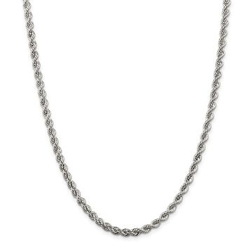 925 Sterling Silver Solid Rope Polished Twisted 4.5mm Chain Necklace, Bracelet or Anklet