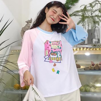 New Contrast Color Stitching Loose Tshirt Women's Top Tunic Kawaii Ladies Vintage Top Female Korean Harajuku T-shirts For Women