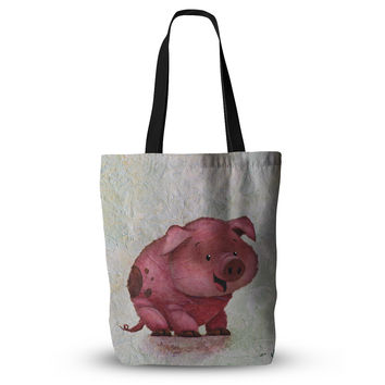 "Rachel Kokko ""This Little Piggy"" Pink White Everything Tote Bag"
