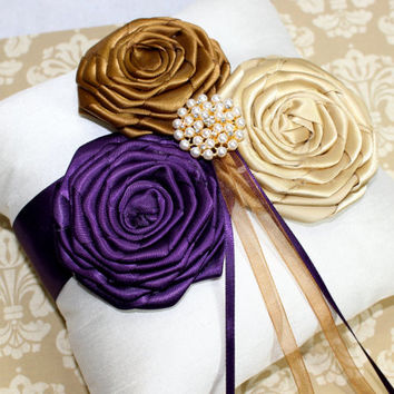 RING PILLOW, Ring Bearer Pillow, Ivory Ring Pillow, Purple and Gold Wedding, Flower Girl Basket, Custom colors available