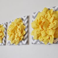 Three Bright Yellow Dahlia on Gray and White Chevron Canvases