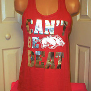 Victoria's Secret PINK GET WILD ARKANSAS RAZORBACKS Top T Shirt Tank Tee