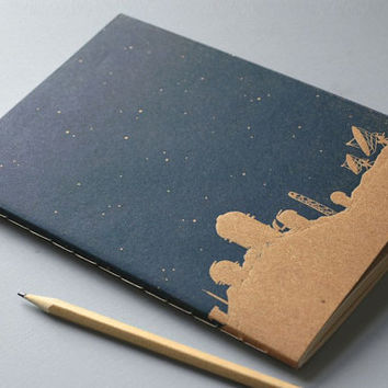 Night Sky Notebook - Constellation Journal - Starry Sky with Observatories Print - Stargazer Diary - Astronomy Journal