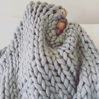 chunky blanket 100 % merino wool king size Knit blanket Cozy throw super big bulky arm knitting home decor VALENTINE'S DAY SALE