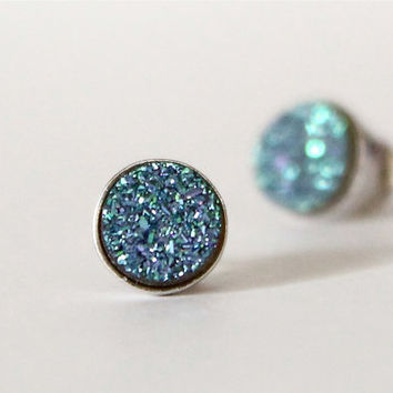 Small Round Blue Druzzy Studs. Sterling Silver. Dainty Jewelry. Gift Ideas