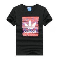 """""""Adidas"""" Men Fashion Casual Clover Letter Pattern Print Round Neck Short Sleeve T-shir"""