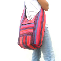 Woven Sling Bag Ethnic Boho Bag Hobo Bag Hippie Bag Cotton Crossbody Shoulder Bag Messenger Bag Diaper Bag Pink Handbags  Everyday Bag