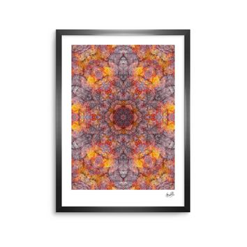 "Justyna Jaszke ""Mandala Orange Art"" Orange Black Abstract Pattern Digital Mixed Media Framed Art Print"