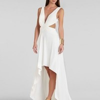 BCBG White ANASTASIA Draped Crisscross-Front Dress