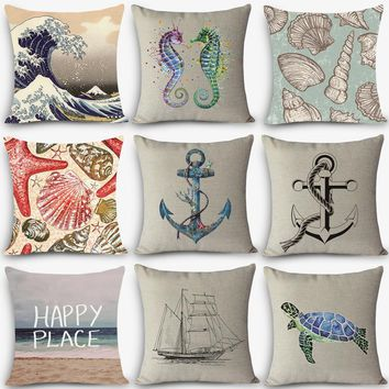 "New Arrival  pillow Sea sailing Patterns Home Decorative Cushion Throw Pillow 18"" Vintage Cotton Linen Square Pillows MYJ-B3"