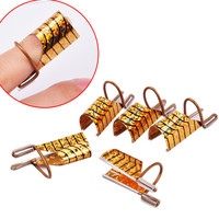 5pcs set Reusable Dual Silver Gold Nail Form For Nail Art Making C Curve Acrylic French Tips