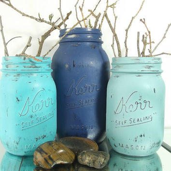 Hand Painted Mason Jars Decor, Beach Cottage Decor, Tabletop Decor, New Home Housewarming Gift. Table Centerpieces