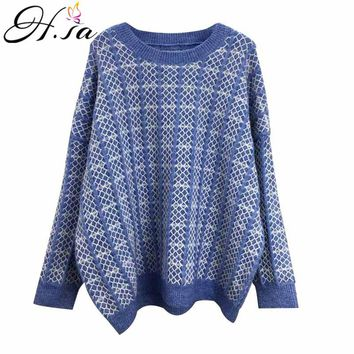 H.SA Women Plaid Sweaters 2018 Autumn Winter ugly christmas sweater Blue Casual Jumpers cashmere sweater women sueter mujer Pull