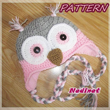 Crochet PATTERN - Owl crochet hat PATTERN, gratis: hat lining FREE Tutorial