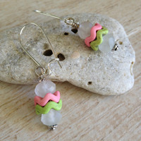 Chevron Earrings, Pink and Green Chevron with Frost White Faceted Glass Beads