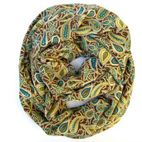 Multicolored Paisley Circle Infinity Scarf Endless Loop Eternity Scarf Brown Cream Green Turquoise Womens Scarves Beautiful Holiday Gift