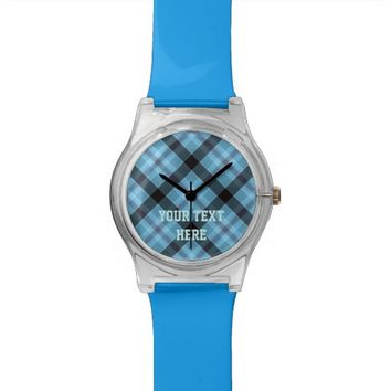 Your Image, Your Text, Custom Watch FUN Blue Plaid