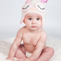 Baby girls Owl hat, photo prop, newborn baby gift, baby shower, pink, blue hand crocheted, eyes open or closed,