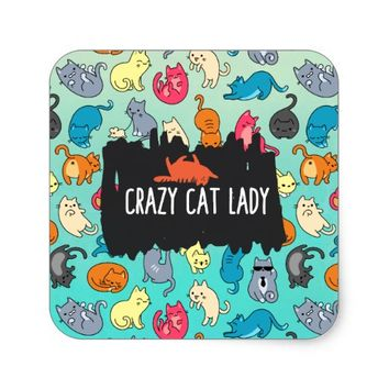 Crazy Cat Lady Cute and Playful Cat Pattern Square Sticker
