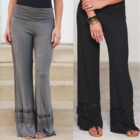 Women Fashion Casual Loose Mid-waisted Lace Spliced Flared Wide Leg Pants Long Trousers [8069656455]
