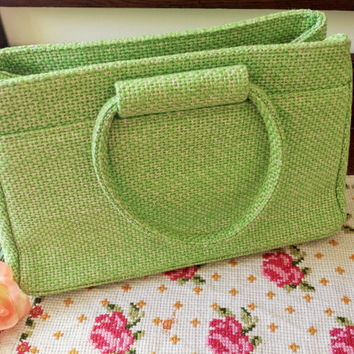 Vintage 1960s JR Florida Tweed Purse / 60s Kelly HandBag / Julius Resnick Purse / Vintage Hand Bag / Apple Green Tweed Bag / Vintage Purse