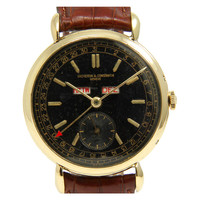 Vacheron & Constantin Yellow Gold Triple-Calendar Wristwatch with Black Dial