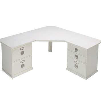 BEDFORD CORNER DESKTOP SET, 1 DESKTOP, 1 2-DRAWER FILE & 1 3-DRAWER FILE CABINET, ANTIQUE WHITE