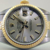 ROLEX - Ladies 26mm 18kt Gold & SS DateJust Silver Index Dial - 79173 SANT BLANC