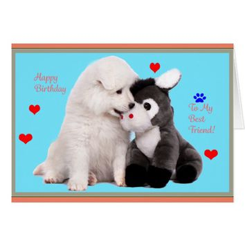 Samoyed Puppy & Toy Birthday Greeting Card