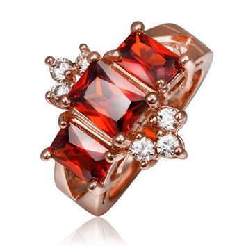 Rose Gold Plated Ruby Emerald Crown Jewel Ring
