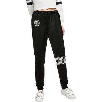Women's Black Chain Knee Track Pants