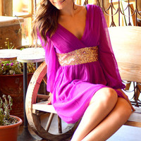 THE GLIMMERING GODDESS PLUM CHIFFON DRESS