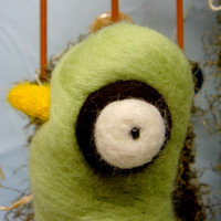 Needle Felted Centerpiece Green Bird in Orange Bird by uglyclothes