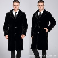 S-6XL Man Imitation Mink Fur Trench Large Size Men Casual Faux Fur Jacket WindProoff Warm Thick Coat Free Shipping