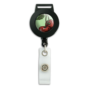 Cherries Retractable Badge Card ID Holder